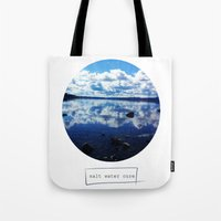 salt water Tote Bags featuring salt water cure by f5ver
