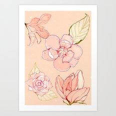 Summer flowers warm Art Print