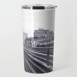New York Subway Black and White Travel Mug