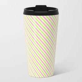 Pink and Green Diagonal Lines Travel Mug