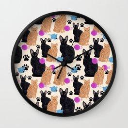 Black Cat Orange Cat Paws Wall Clock