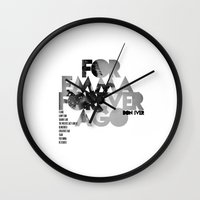 bon iver Wall Clocks featuring For Emma, Forever Ago - Bon Iver / Cover Art LP by FunnyFaceArt