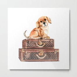 Dog and suitcases Metal Print