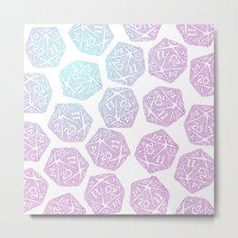 d20 pattern dice gradient pastel - icosahedron Metal Print