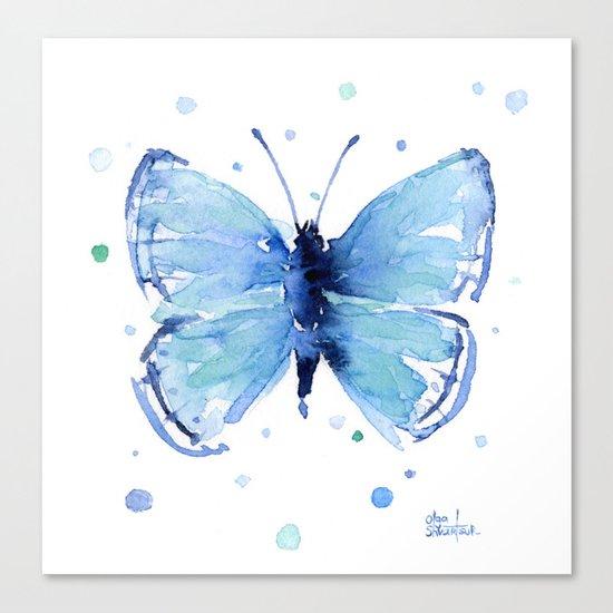 Blue Butterfly Watercolor Butterflies Animals Canvas Print