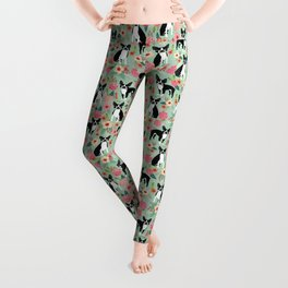 Boston Terrier florals dog breed pattern must have pupper gifts dog lovers Leggings