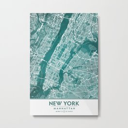 Turquoise Teal Wall Art Showing Manhattan New York City, Brooklyn and New Jersey Metal Print