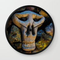 minerals Wall Clocks featuring skull and minerals by giol's