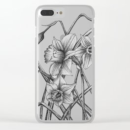 Daffodil Sketch Clear iPhone Case