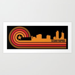 Retro Cedar Rapids Iowa Skyline Art Print