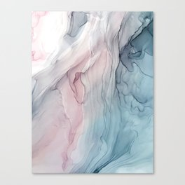 Calming Pastel Flow- Blush, grey and blue Canvas Print