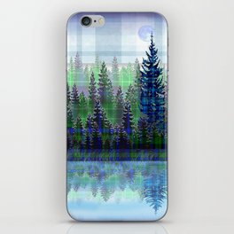Nature Reflected Plaid Pine Forest iPhone Skin
