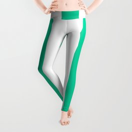 Caribbean green - solid color - white vertical lines pattern Leggings