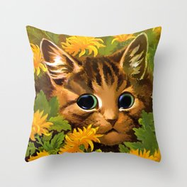 """Louis Wain's Cats """"Tabby in the Marigolds"""" Throw Pillow"""
