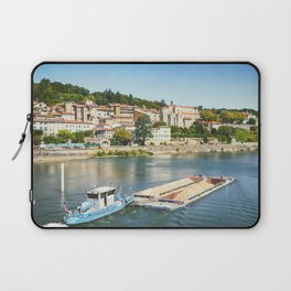 Industrial boat pushing barge full of sand material on Saone river in Trevoux town in France Laptop Sleeve