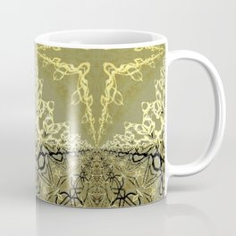 Roman Star (4-point star) Persian Rug Motif (gold, black, bronze, black) Coffee Mug