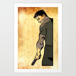 guy with gun Art Print