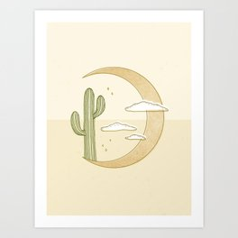 Moon Cactus Art Print