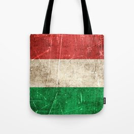 Vintage Aged and Scratched Hungarian Flag Tote Bag