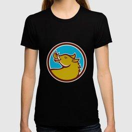 Razorback Head Looking Up Circle Retro T-shirt