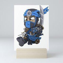 Blue Ninja Chibi Assassin Gift Mini Art Print