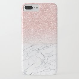 Elegant Chic Pink Glitter Gray White Marble Gradient iPhone Case