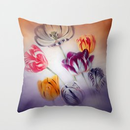 painted tulips on pastell background -b- Throw Pillow