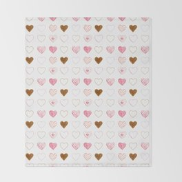 Pink and Gold Hearts Doodle Art Throw Blanket