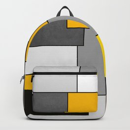 Black Yellow and Gray Geometric Art Backpack