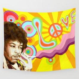 Jimi Hendrix (Peace & Love) Wall Tapestry