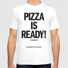 Pizza is Ready! White Mens Fitted Tee MEDIUM