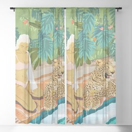 The Wild Side, Human & Nature Connection, Woman With Cheetah Cat, Tiger Painting Sheer Curtain