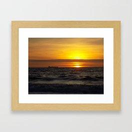 Cargo Ship Sunrise Framed Art Print