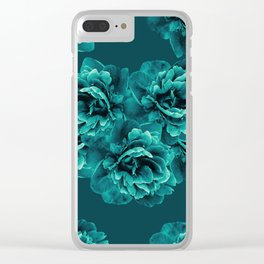 Turquoise Peony Flower Bouquet #1 #floral #decor #art #society6 Clear iPhone Case