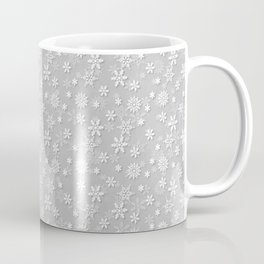 Festive Silver Grey and White Christmas Holiday Snowflakes Coffee Mug