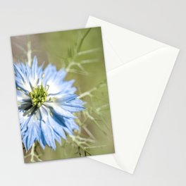 Blue flower close up Nigella love in the mist Stationery Cards