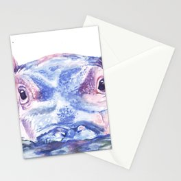 Happy Hippo Watercolor Painting Stationery Cards