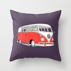 Retro Camper Van // Purple and Pink Throw Pillow