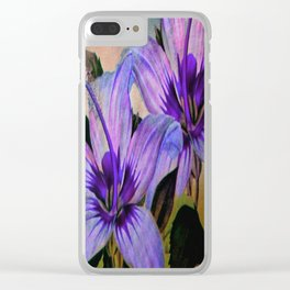 Vintage Painted Lavender Lily Clear iPhone Case
