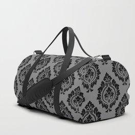 Decorative Damask Pattern Black on Gray Duffle Bag