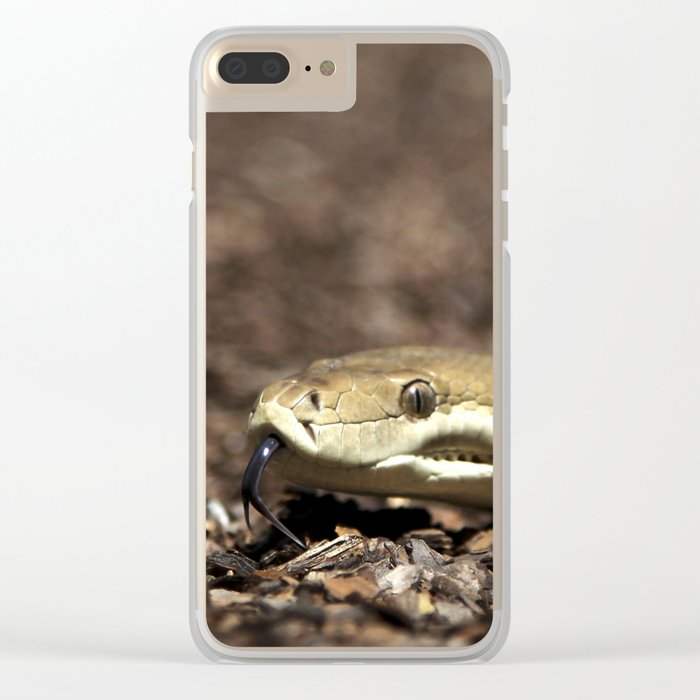 Olive Python tasting you! - snake Clear iPhone Case