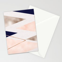 Rose gold french navy geometric Stationery Cards