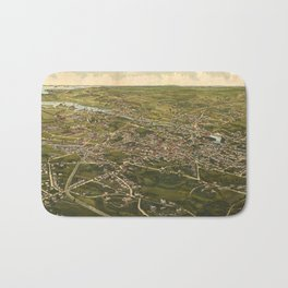 Vintage Pictorial Map of Stamford CT (1883) Bath Mat