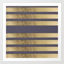 Elegant mauve purple faux gold stripes pattern Art Print