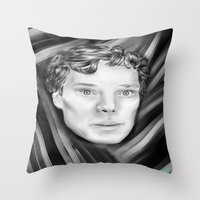 cumberbatch Throw Pillows featuring Benedict Cumberbatch by Cassandra Moonen