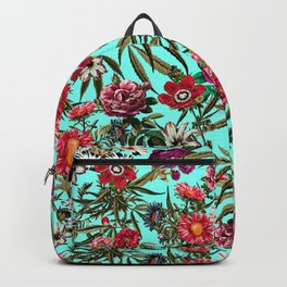 Marijuana and Floral Pattern II Backpack