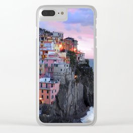 Cinque Terre Sunset, Manarola Italy, Italian Village so0001 Clear iPhone Case