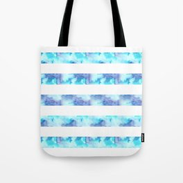 Blue & Purple Watercolor Stripes Tote Bag