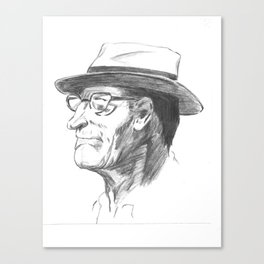 Drawing 4 Fun, My Personal Practice Charcoal Drawing of Old Man Canvas Print
