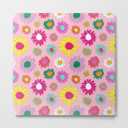 60's Daisy Crazy in Mod Pink Metal Print